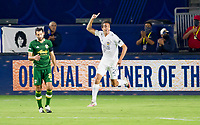 CARSON, CA - OCTOBER 07: Ethan Zubak #29 of the Los Angeles Galaxy celebrates his goal during a game between Portland Timbers and Los Angeles Galaxy at Dignity Heath Sports Park on October 07, 2020 in Carson, California.