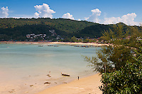 Panorama of low tide beach on Ton Sai Bay, Phi-Phi island, Thailand
