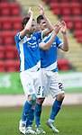 St Johnstone v Partick Thistle…13.05.17     SPFL    McDiarmid Park<br />Steven MacLean and Graham Cummins applaud the fans at full time<br />Picture by Graeme Hart.<br />Copyright Perthshire Picture Agency<br />Tel: 01738 623350  Mobile: 07990 594431