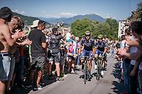 teammates Ruben Plaza (ESP/Orica-Scott) & Carlos Verona (ESP/ORICA-Scott) up the final steep climb towards the Città Alta in Bergamo<br /> <br /> Stage 15: Valdengo › Bergamo (199km)<br /> 100th Giro d'Italia 2017