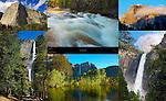 El Capitan, Lower Tenaya Creek during Spring Flood, Half Dome at Sunset, Upper and Lower Yosemite Falls, Yosemite Falls and Merced River, Bridalveil Fall, Yosemite National Park
