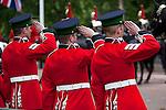 United Kingdom, London: Trooping the Colour, Irish Guardsmen saluting alongside The Mall | Grossbritannien, England, London: Trooping the Colour, alljaehrliche Militaerparade am zweiten Samstag im Juni zu Ehren des Geburtstages der britischen Koenige und Königinnen, irische Gardisten salutieren entlang der Mall