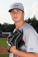 Aberdeen Ironbirds pitcher Tim Adleman poses for a photo before a game vs. the Batavia Muckdogs at Dwyer Stadium in Batavia, New York;  August 11, 2010.   Batavia defeated Aberdeen 10-1.  Photo By Mike Janes/Four Seam Images
