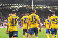 Leeds United go back to halfway after going 1-0 up during the Sky Bet Championship match between Sheff United and Leeds United at Bramall Lane, Sheffield, England on 1 December 2018. Photo by Stephen Buckley / PRiME Media Images.