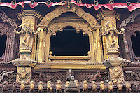 Kathmandu, Nepal.  Window in the Kumari Bahal, House of the Kumari Devi, a Young Girl Revered as a Living Goddess.  This house was built in 1757 in the style of a Buddhist vihara, a monastic abode.