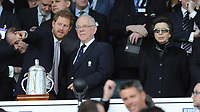 Prince Harry speaks to Peter Baines, president of RFU, as Princess Anne looks on during the RBS 6 Nations match between England and Scotland at Twickenham Stadium on Saturday 11th March 2017 (Photo by Rob Munro/Stewart Communications)