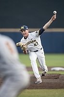 Central Michigan Chippewas pitcher Tommy Henry (47) delivers a pitch to the plate against the Michigan Wolverines on May 9, 2017 at Ray Fisher Stadium in Ann Arbor, Michigan. Michigan defeated Central Michigan 4-2. (Andrew Woolley/Four Seam Images)