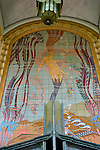 Colorful mosaic tiles depicting a mermaid and underwater scene adorn the walls of the Avalon Balroom on Catalina Island