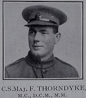 BNPS.co.uk (01202 558833)<br /> Pic: Spink&Son/BNPS<br /> <br /> Pictured: Company Sergeant Major Frederick Thorndyke<br /> <br /> The medals of a fearless British officer who stormed three machine gun posts during a daring assault have emerged for sale for £9,000.<br /> <br /> Company Sergeant Major Frederick Thorndyke, of the City of London Battalion, London Regiment, led a three man team in capturing two posts under heavy German fire.<br /> <br /> Not satisfied, he attempted to seize a third but was wounded during the dramatic action near Albert in the Battle of Amiens in August 1918.<br /> <br /> He was awarded a prestigious Military Cross for 'conspicuous courage and qualities of leadership' when all the officers around him had been killed or wounded.<br /> <br /> It was his third gallantry award in two years after receiving the Military Medal and Distinguished Conduct Medal for his Western Front heroics. His medals are going under the hammer with London-based auctioneers Spink & Son.