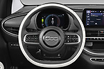 Steering wheel view of a 2021 Fiat 500C La Prima 2 Door Convertible