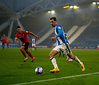 7th November 2020 The John Smiths Stadium, Huddersfield, Yorkshire, England; English Football League Championship Football, Huddersfield Town versus Luton Town; Harry Toffolo of Huddersfield Town crosses the ball