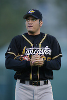 Edgar Gonzalez of the Lancaster JetHawks warms up before pitching during a California League 2002 season game against the Lake Elsinore Storm at The Diamond, in Lake Elsinore, California. (Larry Goren/Four Seam Images)