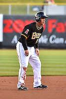 Taylor Lindsey (8) of the Salt Lake Bees takes his lead off of second base against the Sacramento River Cats at Smith's Ballpark on April 5, 2014 in Salt Lake City, Utah.  (Stephen Smith/Four Seam Images)