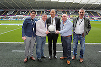 Match ball sponsors with club ambassador Lee Trundle before the Barclays Premier League match between Swansea City and Liverpool at the Liberty Stadium, Swansea on Sunday May 1st 2016