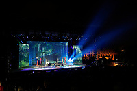 Una panoramica con il palco e sullo sfondo il Colosseo. La decisione di montare un palco sul Palatino ha destato molte polemiche<br /> General view of the stage, and in the background the Coliseum. The decision to build a stage on the Palatine hill, aroused controversy<br /> Roma 06/06/2017. Palatino. Anteprima del Musical 'Divo Nerone - Opera Rock'. L'enorme palco e' stato montato sulla cima del Colle Palatino, da dove si vede il Colosseo.<br /> Rome June 6th 2017. Palatine Hill. Musical 'Nerone Star - Rock Opera'. For the occasion, a huge stage was built on the top pf Palatino Hill, with a view on the Coliseum<br /> Foto Samantha Zucchi Insidefoto