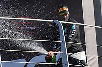 13th September 2020; Mugello race track, Scarperia e San Piero, Tuscany, Italy ; Formula 1 Grand Prix of Tuscany, Race Day;  44 Lewis Hamilton GBR, Mercedes-AMG Petronas Formula One Team celebrates his win