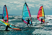 annual event at South Beach on Lake Michigan, sports, windsurfers. South Haven Michigan USA.