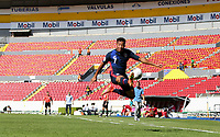 GUADALAJARA, MEXICO - MARCH 18: Jonathan Lewis #7 of the United States fly's through the air for a ball during a game between Costa Rica and USMNT U-23 at Estadio Jalisco on March 18, 2021 in Guadalajara, Mexico.