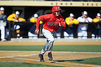 Spencer Horwitz (37) of the Radford Highlanders hustles down the first base line against the Quinnipiac Bobcats at David F. Couch Ballpark on March 4, 2017 in Winston-Salem, North Carolina. The Highlanders defeated the Bobcats 4-0. (Brian Westerholt/Four Seam Images)