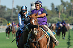 """ARCADIA, CA. SEPTEMEBER 29:  #1 Paved, ridden by Joel Rosario,in the post parade of the Rodeo Drive Stakes (Grade l) """"Win and You're in Breeders Cup Juvenile Fillies Division"""" on September 29, 2018, at Santa Anita Park in Arcadia, CA. (Photo by Casey Phillips/Eclipse Sportswire/CSM)"""