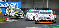 29th August 2020; Knockhill Racing Circuit, Fife, Scotland; Kwik Fit British Touring Car Championship, Knockhill, Qualifying Day; Mike Bushell puts pressure on Bobby Thomson and Jack Goff during qualifying