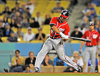 23 July 2011: Washington Nationals infielder Danny Espinosa in action against the Los Angeles Dodgers at Dodger Stadium in Los Angeles, California. The Dodgers rallied to defeat the Nationals 7-6 on a Rafael Furcal walk-off, RBI double in the bottom of the 9th inning. Mandatory Credit: Ed Wolfstein Photo