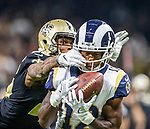 Los Angeles Rams wide receiver Brandin Cooks (12) makes a 36 yard reception at the end of the first half to set up the Rams first touchdown against the New Orleans Saints in the NFC Championship at the Mercedes-Benz Superdome in New Orleans on January 20, 2019. Photo by Mark Wallheiser/UPI