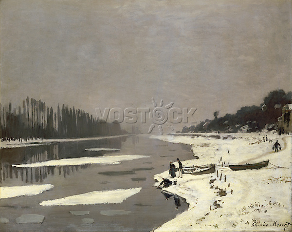 Claude Monet - Ice Floes on the Seine at Bougival (1867-1868). Paris, musée du Louvre.