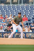 Nashville Sounds first baseman Matt Olson (21) during a game against the New Orleans Baby Cakes on April 30, 2017 at First Tennessee Park in Nashville, Tennessee.  The game was postponed due to inclement weather in the fourth inning.  (Mike Janes/Four Seam Images)