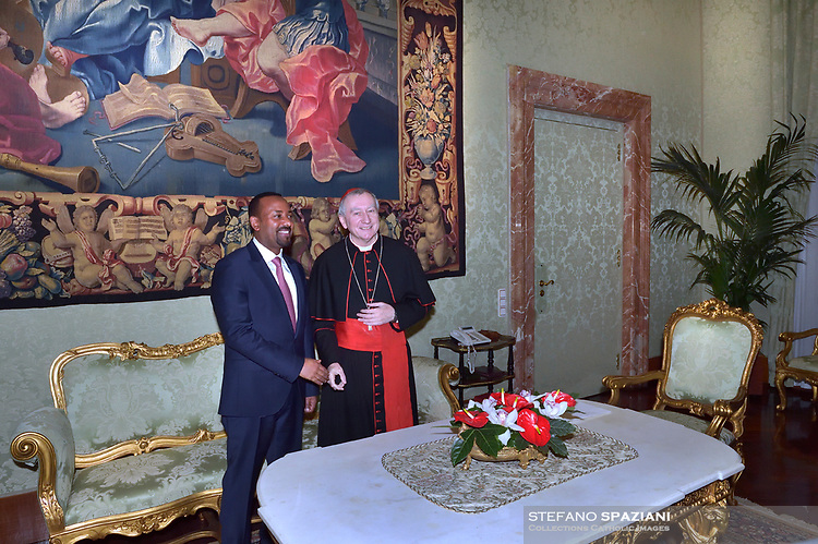 Cardinal Pietro Parolin with Ethiopian Prime Minister Abiy Ahmed during a private audience at the Vatican on January 21, 2019.