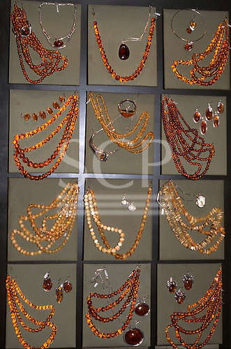 Kracow, Poland. Amber necklaces and earrings on sale.