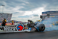 Jul 19, 2020; Clermont, Indiana, USA; NHRA top fuel driver Antron Brown does a burnout during the Summernationals at Lucas Oil Raceway. Mandatory Credit: Mark J. Rebilas-USA TODAY Sports