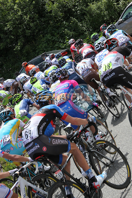 The peloton climb during Stage 11 of the 99th edition of the Tour de France 2012, running 148km from Albertville to La Toussuire Les Sybelles, France. 12th July 2012.<br /> (Photo by Thomas van Bracht/NEWSFILE)