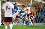 St Johnstone v Motherwell…..12.02.20   McDiarmid Park   SPFL<br />David Wotherspoon tries an overhead kick<br />Picture by Graeme Hart.<br />Copyright Perthshire Picture Agency<br />Tel: 01738 623350  Mobile: 07990 594431