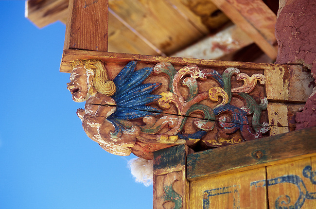 ANGEL roof support of the KINGS CHAPEL at TSAPARANG (10th C.), lost city of the GUGE KINGDOM west of MOUNT KAILASH - TIBET