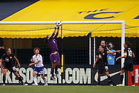 14 MAY 2011: USA Women's National Team Goalkeeper Hope Solo (1) makes a save on a corner kick during the International Friendly soccer match between Japan WNT vs USA WNT at Crew Stadium in Columbus, Ohio.