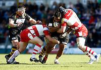 Photo: Richard Lane/Richard Lane Photography. London Wasps v Gloucester Rugby. Aviva Premiership. 01/04/2012. Wasps' Billy Vunipola attacks.