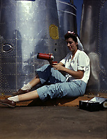 circa 1942 file photo - Female worker at lunch