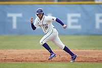 Sam Zayicek (28) of the High Point Panthers takes off for second base against the Bryant Bulldogs at Williard Stadium on February 21, 2021 in  Winston-Salem, North Carolina. The Panthers defeated the Bulldogs 3-2. (Brian Westerholt/Four Seam Images)