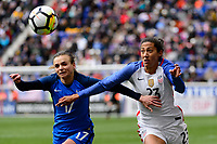Harrison, NJ - Sunday March 04, 2018: Marion Torrent, Christen Press during a 2018 SheBelieves Cup match match between the women's national teams of the United States (USA) and France (FRA) at Red Bull Arena.