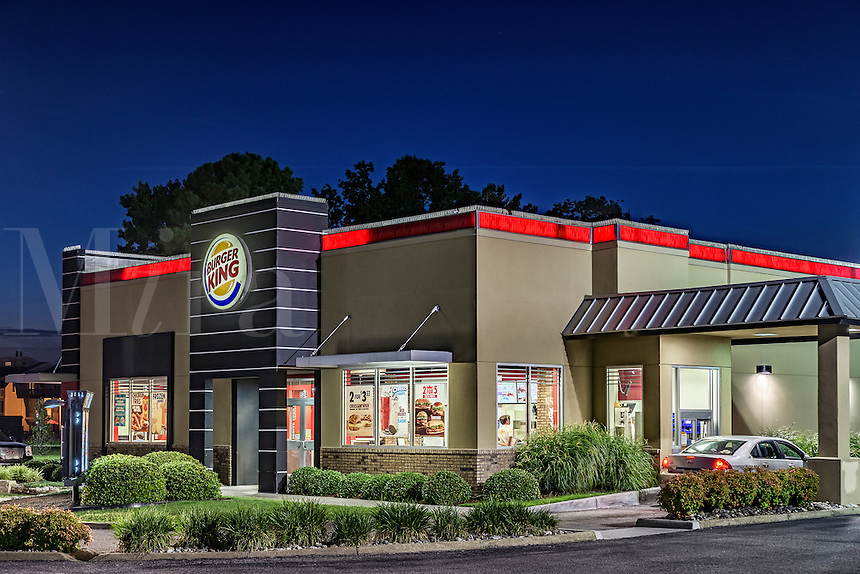 Burger King restaurant exterior at night, Virginia Beach, USA
