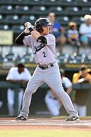 Jupiter Hammerheads designated hitter Blake Barber (2) at bat during a game against the Bradenton Marauders on June 25, 2014 at McKechnie Field in Bradenton, Florida.  Bradenton defeated Jupiter 11-0.  (Mike Janes/Four Seam Images)