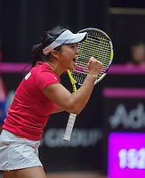 The Netherlands, Den Bosch, 16.04.2014. Fed Cup Netherlands-Japan, Kurumi Nara (JPN) in jubilation after winning the first match<br /> Photo:Tennisimages/Henk Koster