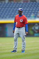 Buffalo Bison position coach Devon White (22) coaches first base during the game against the Durham Bulls at Durham Bulls Athletic Park on April 25, 2018 in Allentown, Pennsylvania.  The Bison defeated the Bulls 5-2.  (Brian Westerholt/Four Seam Images)