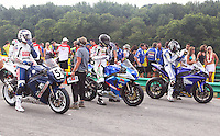 Left to righr, Geoff May (54), Matt Mladin (7) and Josh Hayes (4) on the grid before Sunday's American Superbike race at the Suzuki Big Kahuna Nationals, Virginia International Raceway, Alton, VA, August 2009. (Photo by Briain Cleary/www.bcpix.com)