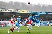 Gareth Ainsworth scores his second goal with an overhead kick during the Celebrity football match in aid of the charity's 'Keep Moving Forward' programme which benefits people with mental health issues put together by Wycombe Wanderers Sports & Education Trust and Sellebrity Soccer Football Match at Adams Park, High Wycombe, England on 7 April 2019. Photo by David Horn.