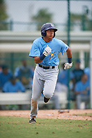 Tampa Bay Rays third baseman Luis Leon (97) runs to first base during an Instructional League game against the Pittsburgh Pirates on October 3, 2017 at Pirate City in Bradenton, Florida.  (Mike Janes/Four Seam Images)