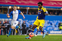 Saturday 25 January 2014<br /> Pictured: Wilfried Bony tries to cross the ball <br /> Re: Birmingham City v Swansea City FA Cup fourth round match at St. Andrew's Birimingham