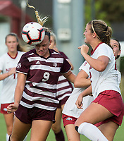 Hawgs Illustrated/BEN GOFF <br /> Grace Piper (9) of Texas A&M makes a header in the first half vs Arkansas Thursday, Sept. 20, 2018, at Razorback Field in Fayetteville.