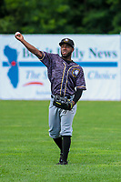 Quad Cities River Bandits outfielder Marcos Almonte (1) warms up in the outfield between innings during a Midwest League game against the Beloit Snappers on June 18, 2017 at Pohlman Field in Beloit, Wisconsin.  Quad Cities defeated Beloit 5-3. (Brad Krause/Four Seam Images)